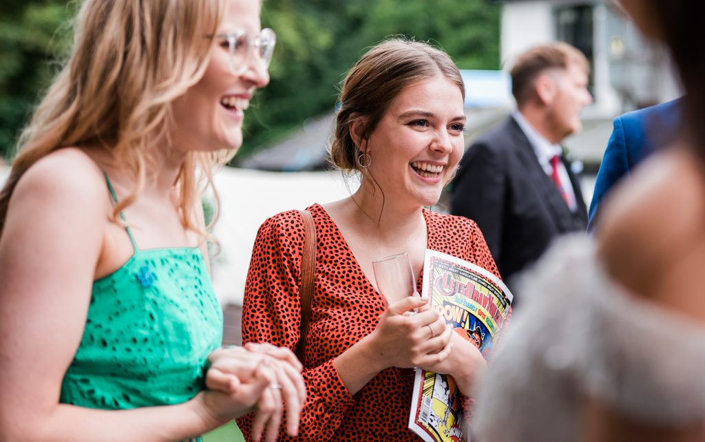 smiling wedding guest